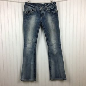 MIss Me Sequined Boot Cut Jeans Flap Pockets Faded